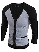 cheap Men's Tees & Tank Tops-Men's T-shirt - Color Block V Neck / Long Sleeve