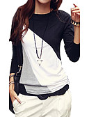 cheap Women's T-shirts-Women's Street chic Plus Size Cotton / Polyester / Others T-shirt - Color Block Black & White / Fall