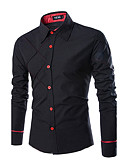cheap Men's Shirts-Men's Work Business / Casual Plus Size Cotton Slim Shirt - Solid Colored Classic Collar / Long Sleeve