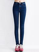 baratos Calças Femininas-Mulheres Clássico Justas/Skinny Jeans Calças - Sólido