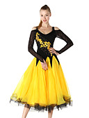 cheap Women's Two Piece Sets-Ballroom Dance Dresses Women's Performance Chinlon / Crepe Embroidery / Crystals / Rhinestones Long Sleeve Dress / Modern Dance