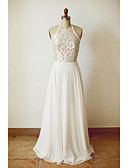 cheap Women's Lingerie-A-Line Halter Neck Floor Length Chiffon Made-To-Measure Wedding Dresses with Lace by LAN TING Express