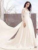 cheap Wedding Dresses-A-Line V Neck Chapel Train Lace Over Satin Made-To-Measure Wedding Dresses with Lace by LAN TING BRIDE® / See-Through / Royal Style