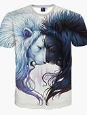 baratos Camisetas & Regatas Masculinas-Homens Camiseta - Esportes Estampado, Animal Delgado Leão / Manga Curta