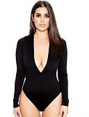 billige Bodysuit-Dame Sparkedrakter - Ensfarget Dyp V