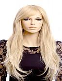 preiswerte Modische Uhren-Synthetische Perücken Wellen Blond Mit Pony Synthetische Haare Mittelscheitel Blond Perücke Damen Lang Kappenlos