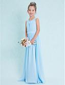 cheap Junior Bridesmaid Dresses-Sheath / Column Scoop Neck Floor Length Chiffon Junior Bridesmaid Dress with Draping by LAN TING BRIDE® / Natural