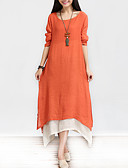 cheap Women's Dresses-Women's Chinoiserie Cotton A Line / Loose Dress - Solid Colored Layered Maxi / Spring / Fall