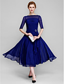 cheap Prom Dresses-A-Line Bateau Neck Tea Length Chiffon Mother of the Bride Dress with Ruched by LAN TING BRIDE® / Illusion Sleeve