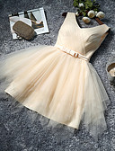 cheap Bridesmaid Dresses-A-Line V Neck Knee Length Tulle Bridesmaid Dress with Bow(s) by LAN TING Express