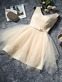 abordables Vestidos de Dama de Honor-Corte en A Escote en Pico Hasta la Rodilla Tul Vestido de Dama de Honor con Lazo(s) por LAN TING Express