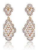 hesapli Gelin Şalları-Kadın's Kristal Damla Küpeler - İnci, Kübik Zirconia Altın / Gümüş Uyumluluk Parti