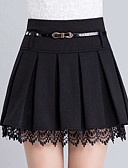cheap Women's Skirts-Women's Plus Size A Line Skirts - Solid Colored Lace Ruffle
