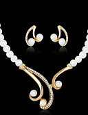 cheap Women's Dresses-Women's Pearl Jewelry Set - Pearl, Imitation Pearl, Rhinestone Luxury Include Necklace / Earrings White For Wedding / Party / Gold Plated / Imitation Diamond