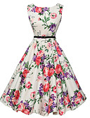 cheap Women's Dresses-Women's Going out Vintage A Line Dress - Floral White, Print / Summer / Floral Patterns