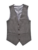 cheap Men's Blazers & Suits-Men's Cotton Slim Vest - Solid Colored