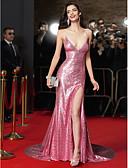 Χαμηλού Κόστους Φορέματα ειδικών περιστάσεων-Τρομπέτα / Γοργόνα Βυθίζοντας το λαιμό Ουρά μέτριου μήκους Με πούλιες Στυλ Διασήμων Επίσημο Βραδινό Φόρεμα με Πούλιες με TS Couture®