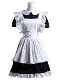 preiswerte Brautjungfernkleider-Gothik Taillenschürze Lolita Damen Dienstmädchenuniform Cosplay Weiß Roll-Ärmel Kurzarm Kürzer Länge Halloween Kostüme