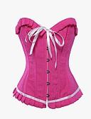 billige Sexet dametøj-Dame Snørring Underbrystkorset Overbrystkorset Plusstørrelse Ensfarvet Polyester Nylon Lys pink