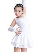 baratos Vestidos de Patinação no Gelo-Dança Latina Vestidos Espetáculo Poliéster / Elastano Renda / Camada / Cristal / Strass Sem Manga Vestido / Luvas