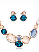 preiswerte Armband-Uhren-Damen Opal / Synthetischer Opal Schmuck-Set - Strass, versilbert, Opal Einschließen Halskette / Ohrringe Königsblau Für Party / Alltag / Halsketten