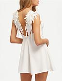 preiswerte T-Shirt-Damen A-Linie Kleid - Rückenfrei Gefaltet, Solide Mini Gurt Hohe Hüfthöhe Weiß