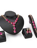 baratos Vestidos Femininos-Mulheres Gema Conjunto de jóias Conjunto de Jóias - Strass, Liga Outros, Formato de Folha Dourado