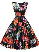 baratos Vestidos de Casamento-Mulheres Vintage Evasê / Rodado Vestido - Estampado, Floral Altura dos Joelhos / Verão / Padrões florais