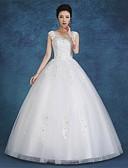 preiswerte Hochzeitskleider-Ballkleid U-Ausschnitt Boden-Länge Satin / Tüll Maßgeschneiderte Brautkleider mit Spitze durch