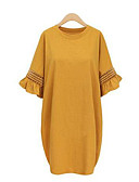 cheap Women's Dresses-Women's Plus Size Street chic Flare Sleeve Loose Dress - Solid Colored Ruffle