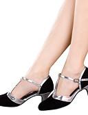 billige Vintage-dronning-Dame Sko til latindans Glimtende Glitter / Syntetisk / Fløjl Sandaler / Hæle Paillette / Applikeret broderi / Glimtende glitter Cubanske hæle Kan ikke tilpasses Dansesko Sølv / Blå / Gyldent
