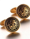 cheap Junior Bridesmaid Dresses-Men's Fashion Dragon Print Gold Alloy French Shirt Cufflinks (1-Pair) Christmas Gifts