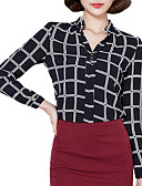 cheap Women's Blazers & Jackets-Women's Street chic Plus Size Shirt - Check, Ruched Stand