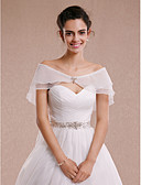 cheap Wedding Wraps-Sleeveless Tulle Wedding Party Evening Women's Wrap With Rhinestone Bowknot Capelets