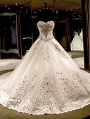 baratos Vestidos de Casamento-Princesa Decote Princesa Cauda Catedral Renda sobre Tule Vestidos de casamento feitos à medida com Laço(s) / Detalhes em Cristal de LAN