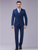 cheap Wedding Dresses-Blue Slim Fit Suit - Slim Peak Single Breasted One-button