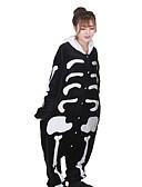 cheap Wedding Veils-Adults' Kigurumi Pajamas Skeleton Ghost Onesie Pajamas Coral fleece White Cosplay For Men and Women Animal Sleepwear Cartoon Festival / Holiday Costumes