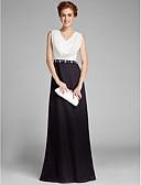 זול שמלות לאם הכלה-מעטפת \ עמוד צווארון V עד הריצפה שיפון שמלה לאם הכלה  עם פרטים מקריסטל על ידי LAN TING BRIDE®