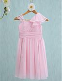 Χαμηλού Κόστους Φορέματα για παρανυφάκια-Ίσια Γραμμή Λουριά Μέχρι το γόνατο Σιφόν Φόρεμα Νεαρών Παρανύμφων με Πλαϊνό ντραπέ / Βολάν με LAN TING BRIDE® / Φυσικό
