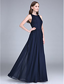 cheap Bridesmaid Dresses-Sheath / Column Jewel Neck Floor Length Chiffon Bridesmaid Dress with Lace by LAN TING BRIDE®