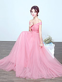 cheap Wedding Dresses-A-Line Off Shoulder Floor Length Tulle Bridesmaid Dress with Draping by LAN TING Express