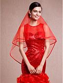 cheap Wedding Veils-One-tier Lace Applique Edge Pencil Edge Wedding Veil Elbow Veils 53 Ribbon Tie Tulle