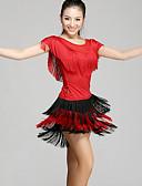 ieftine Ținută Dans Latin-Dans Latin Ținute Pentru femei Performanță Chinlon Franjuri Mânecă scurtă Natural Vârf / Fustă