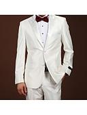 baratos Ternos-Branco Sólido Fino Lã Terno - Notch / Paletó Comum 2 Botões / Suits