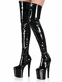 cheap Zentai Suits-Women's Patent Leather Spring / Summer / Fall Club Shoes Heels / Boots Stiletto Heel Over The Knee Boots Zipper Gray / Red / Rainbow / Wedding / Party & Evening