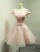 cheap Bridesmaid Dresses-Ball Gown Off Shoulder Short / Mini Organza Lace Bodice Bridesmaid Dress with Appliques Bow(s) Sash / Ribbon by LAN TING Express
