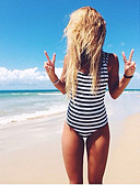 billige Bikinier og damemote 2017-Dame Fargeblokk Grime En del Stripet