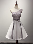 cheap Wedding Dresses-A-Line One Shoulder Knee Length Taffeta Bridesmaid Dress with Sash / Ribbon by LAN TING Express