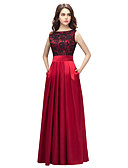 cheap Prom Dresses-A-Line Boat Neck Floor Length Charmeuse Prom / Formal Evening Dress with Pleats by LAN TING Express