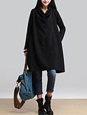 olcso Női ruhák-Női Pamut Bő Bő Ruha Egyszínű Térdig érő / Ősz / Tél
